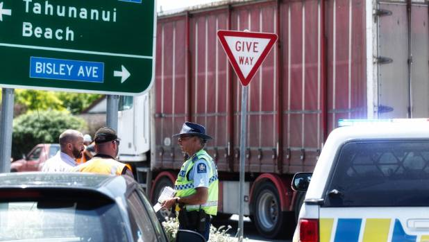 Trucks and car involved in Tahunanui nose-to-tail