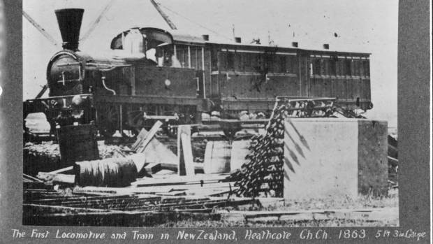 The first locomotive and train in New Zealand, at Heathcote in 1863.