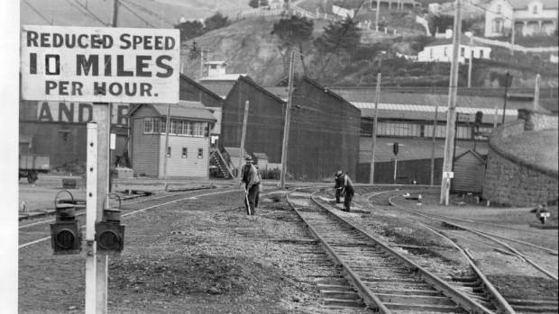 Heavy rails on the curve at the entrance to the Lyttelton tunnel were replaced with new ones in 1933 after the weight ...