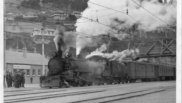 Steam engines replaced the electric locomotives on the Lyttelton line during repairs to the overhead equipment at ...