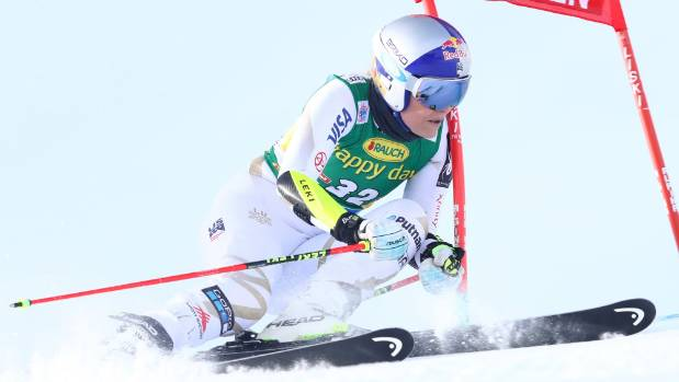 Lindsey Vonn in action in the Giant Slalom at the 2017 AUDI FIS Ski World Cup in Austria