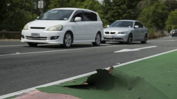 Part of a christchurch cycle lane peels away stuff the surface of a cycle lane on avonside dr near the fitzgerald ave intersection malvernweather Image collections