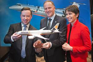 Qantas CEO Alan Joyce announced Jetstar was to fly to New Zealand's regional centres in 2015. Former Prime Minister Sir ...