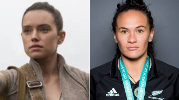 Black Ferns flyer Portia Woodman, right, and Jakku scavenger Rey, played by Daisy Ridley.