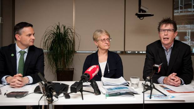 "Climate change minister James Shaw, and scientists Judy Lawrence and Rob Bell presented the ""grim"" report. — Photograph: Simon Maude."