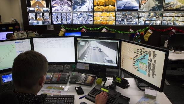 A Wellington Transport Operations Centre staff member monitors the traffic situation from the organisation's ...