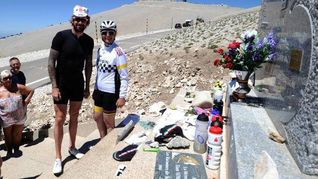 British cyclist Bradley Wiggins and Joanne Simpson, daughter of Tom Simpson, commemorate the 50th anniversary of Tom ...