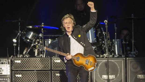 Paul McCartney walked out on stage at his One on One Tour at Mt Smart Stadium, Auckland, with no words, just a salute.
