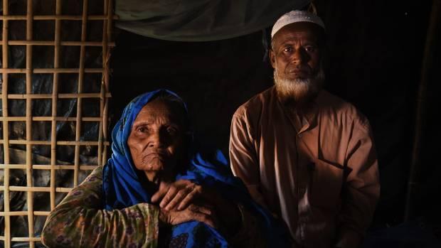 Jorina Khatun, 105, with her son Mahmud Hossain.