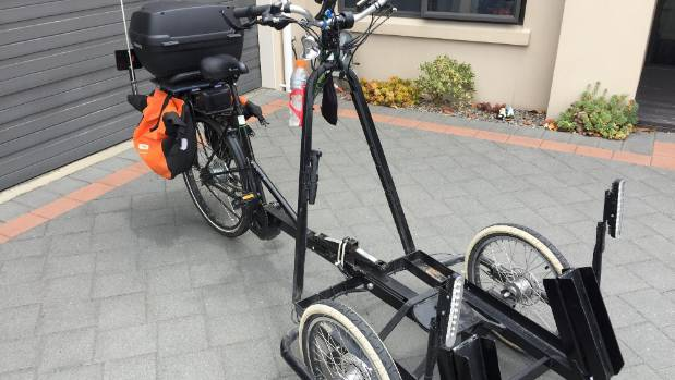 The bike built to allow John and Avis Darnley to cycle together at Waikanae Beach.