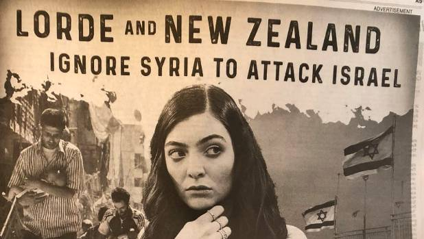 Lorde accused of antisemitism in newspaper ad after cancelling Israel concert