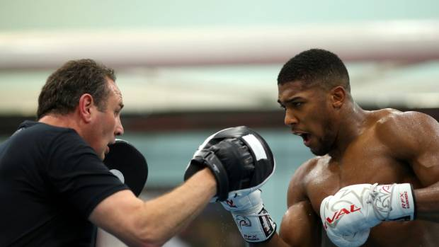 Anthony Joshua works out with his trainer Rob McCracken