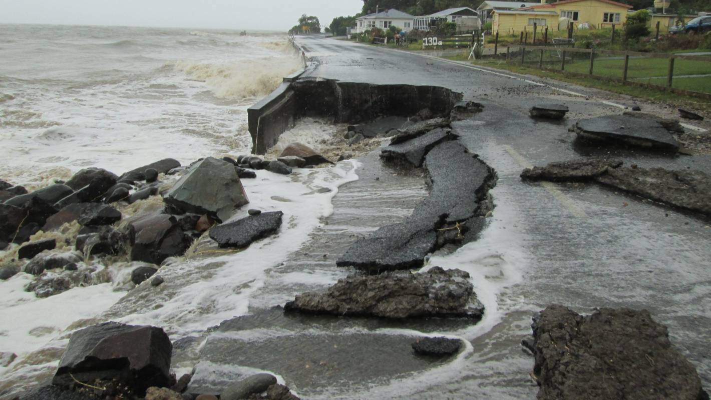 Thames Coast road severely damaged in wake of storm