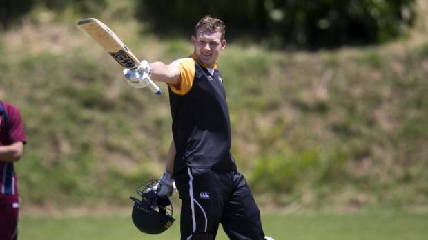 New Zealand under-19s skipper Kaylum Boshier celebrates bringing up a century for his New Plymouth Old Boys club in