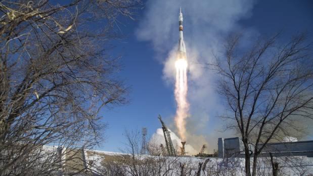 The Soyuz MS-07 rocket is launched with Expedition 54 Soyuz Commander Anton Shkaplerov of Roscosmos, flight engineer ...
