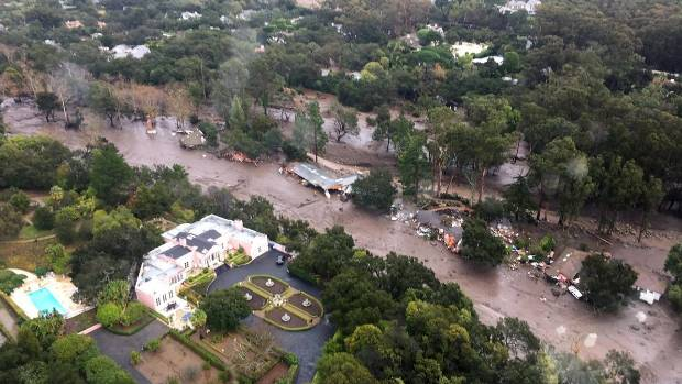 A photo from the Ventura County Sheriff's Office shows an aerial view of Montecito. Many homes have been inundated with ...