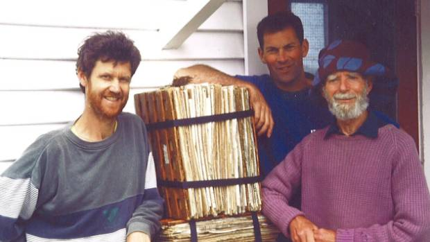Bill Sykes, right, with Anthony Wright, left, and Ewen Cameron on a field trip to the Kermadec Islands in 1970.