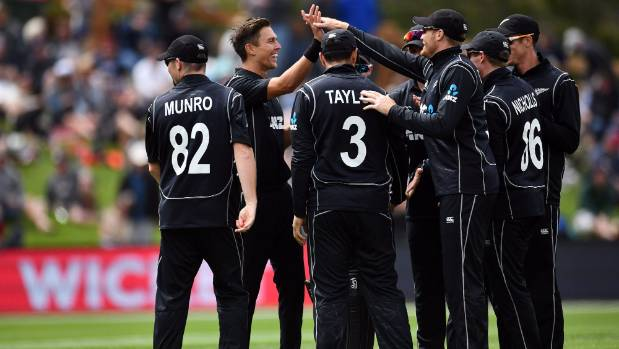 Black Caps players celebrate the wicket of Pakistan batsman Mohammed Hafeez in Dunedin on Saturday