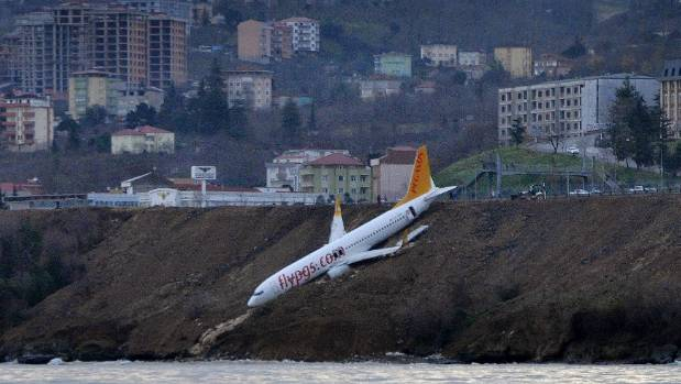 Plane Skids off Runway, Over Cliffside in Northern Turkey