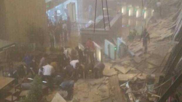 Moment mezzanine floor collapsed, injuring scores of people at Indonesia Stock Exchange