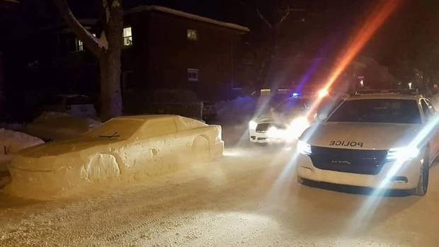 Vehicle sculpted out of snow is realistic enough to fool the police