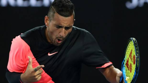 Nick Kyrgios celebrates defeating Jo Wilfried Tsonga in the third round of the Australian Open