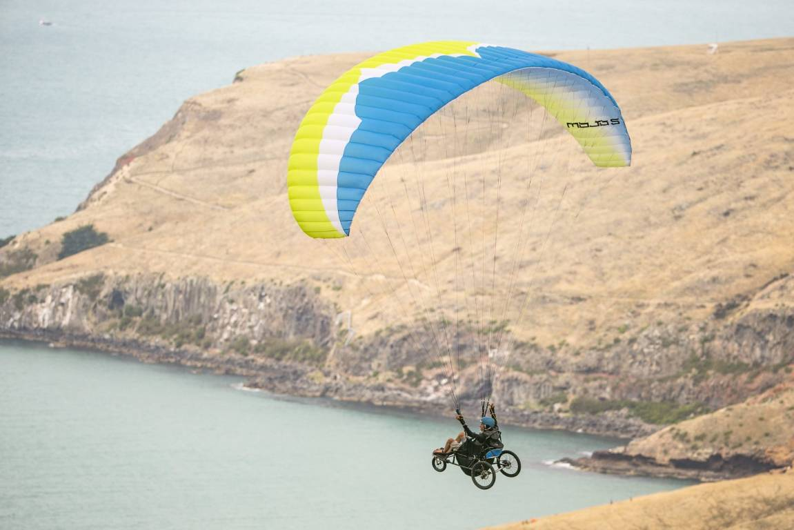 Tetraplegic paraglider Jezza Williams marks first solo coastal