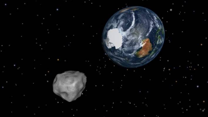 A rendering of asteroid 2012 DA14 in 2013, which came within 27,000 kilometres of Earth.
