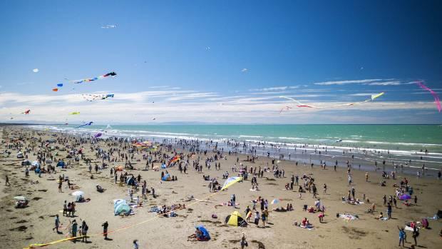 Crowds enjoy Kite Day at New Brighton beach last weekend.