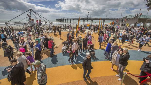 Big crowds turned out to the opening of the New Brighton beachfront playground in December.