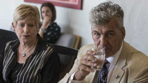 Christchurch Mayor Lianne Dalziel, left, and Canterbury medical officer of health Alistair Humphrey tell media about the ...