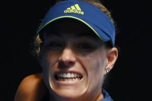 Germany's Angelique Kerber plays a backhand during her quarterfinal destruction of  American Madison Keys.