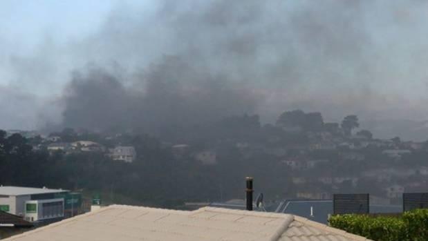 Black smoke hangs over Porirua as crews tackle the fire.