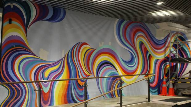 abstract mural for cable car lane part of wider push for more street