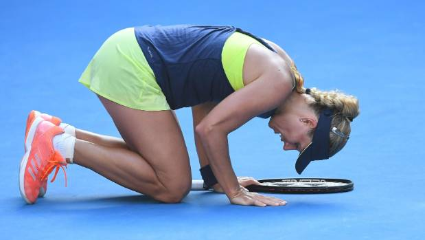 Germany's Angelique Kerber was brought to her knees in the gruelling three-set semifinal