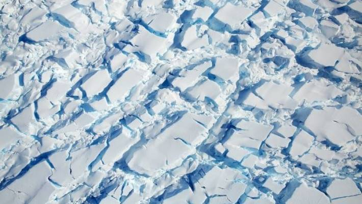 Ice and snow in Antarctica, taken by a NASA aircraft, as the flying airplane flew as part of Operation Icebridge, which observed changes in ice.