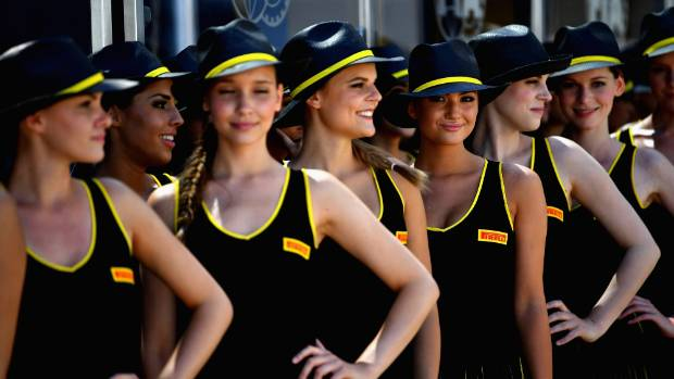 Grid girls in the paddock before the Formula One Grand Prix of Hungary in Budapest