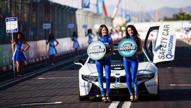 Grid girls on the grid during the FIA Formula E Championship Marrakesh ePrix at the Circuit International Automobile