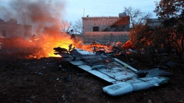 An image said to show the wreckage of the Russian warplane