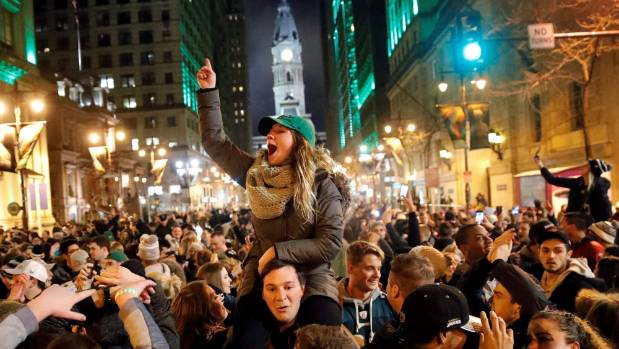 Fans celebrate the Eagles Super Bowl win in Philadelphia