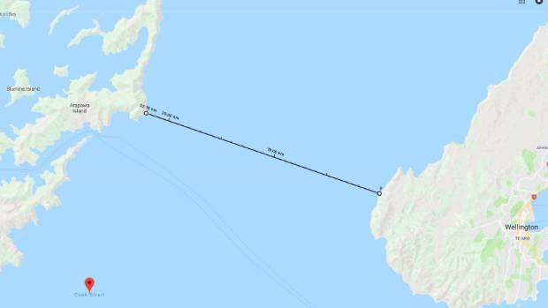 One of the possible routes for a Cook Strait bridge or tunnel: Cape Terawhiti to Arapaoa Island, the shortest point ...