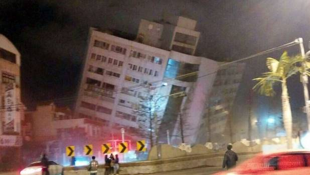 4 magnitude quake in Taiwan topples hotel