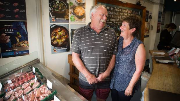 John Clotworthy, left, and Helen Clotworthy, who own Pokeno Bacon.