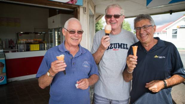 Australians Reg McSweeney, left, Greg Baker and George Hindi sample the local flavours.