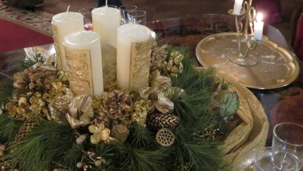 Christmas table decoration in Bojnice Castle, Slovakia.