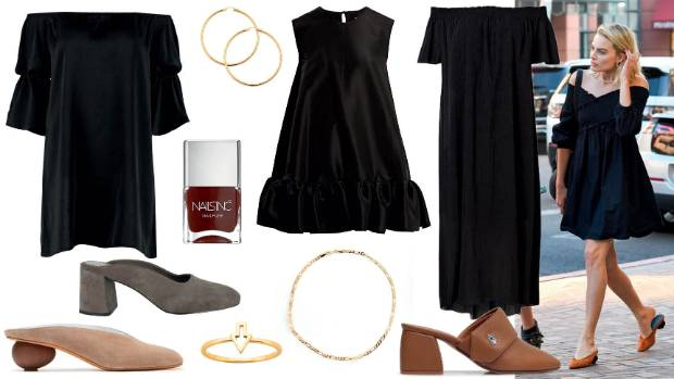 Get the look: Boohoo Fran dress, $27 on sale; Michael Hill 10ct gold hoop earrings, $399; Nails Inc nail polish in ...