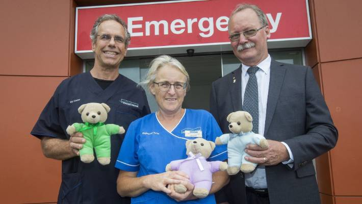 ED Head of Department Donald McKee ,Jackie Flynn, ED acting clinical nurse manager Jackie Flynn and TLC Appeal chair Tony Mansfield Trust with teddy bears that will gifted to distressed children at Taranaki Base Hospital's Emergency Department.