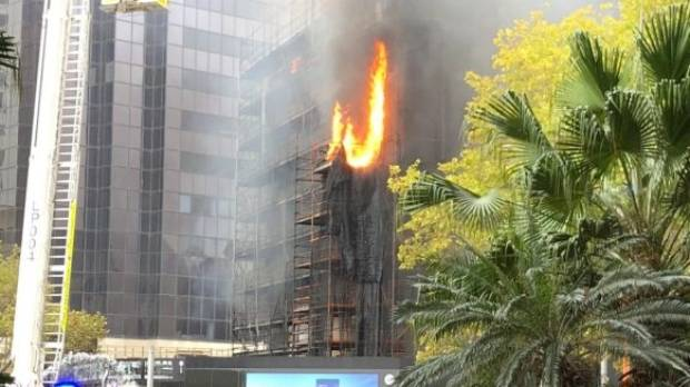 Fire breaks out at a construction site in Circular Quay