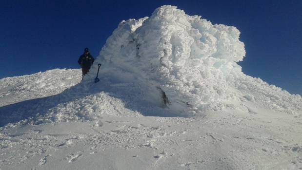 The Dome Shelter on Mt Ruapehu can be very hard to spot in a blizzard, as evidenced in this photo.