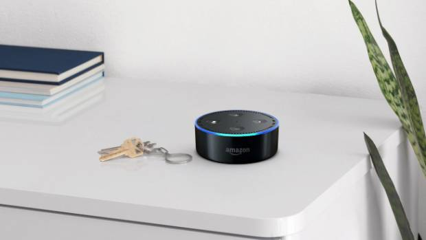 The Echo Dot only costs $89 but has a tiny speaker. It can be connected to a Bluetooth speaker.